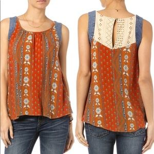 Miss Me Jean Floral Tank Top Blouse Lace Country
